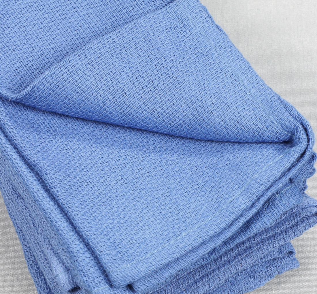 14x24 Huck Towels Blue Closeup