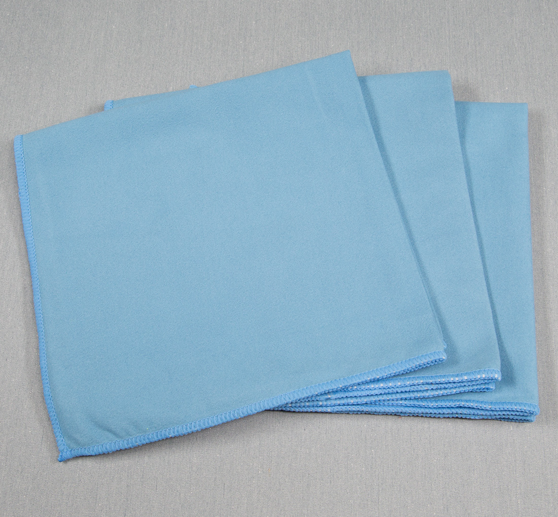 16x16 Microfiber Suede Window Cloths Blue