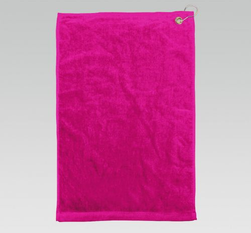16x26 Hot Pink Golf Towels Corner Grommet Hook