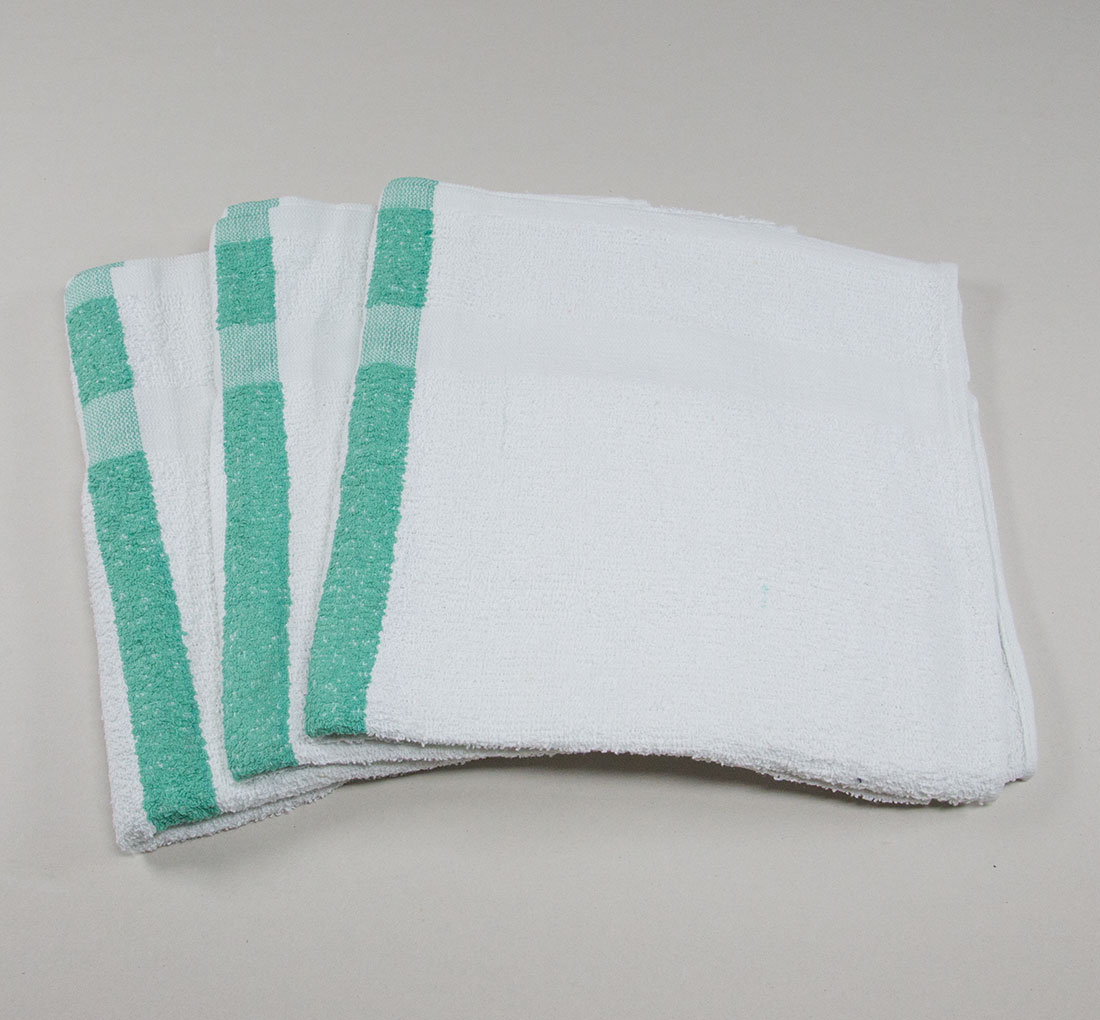 22 x 44 Green Stripe Bath Pool Gym Towel
