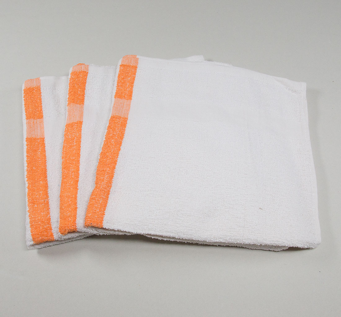 22 x 44 Orange Stripe Bath Pool Gym Towel