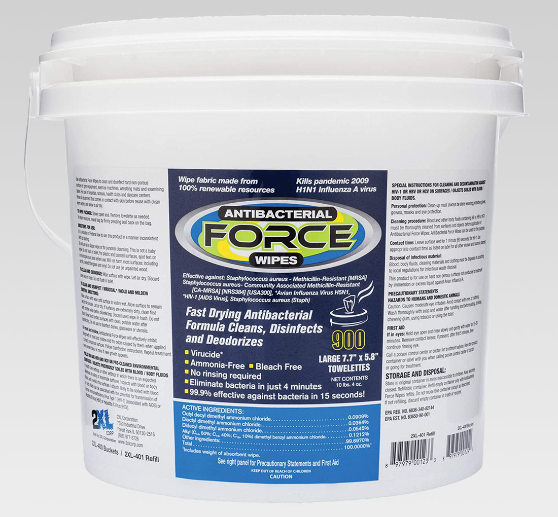 2xl 401 Disinfecting Force Gym Wipes Bucket