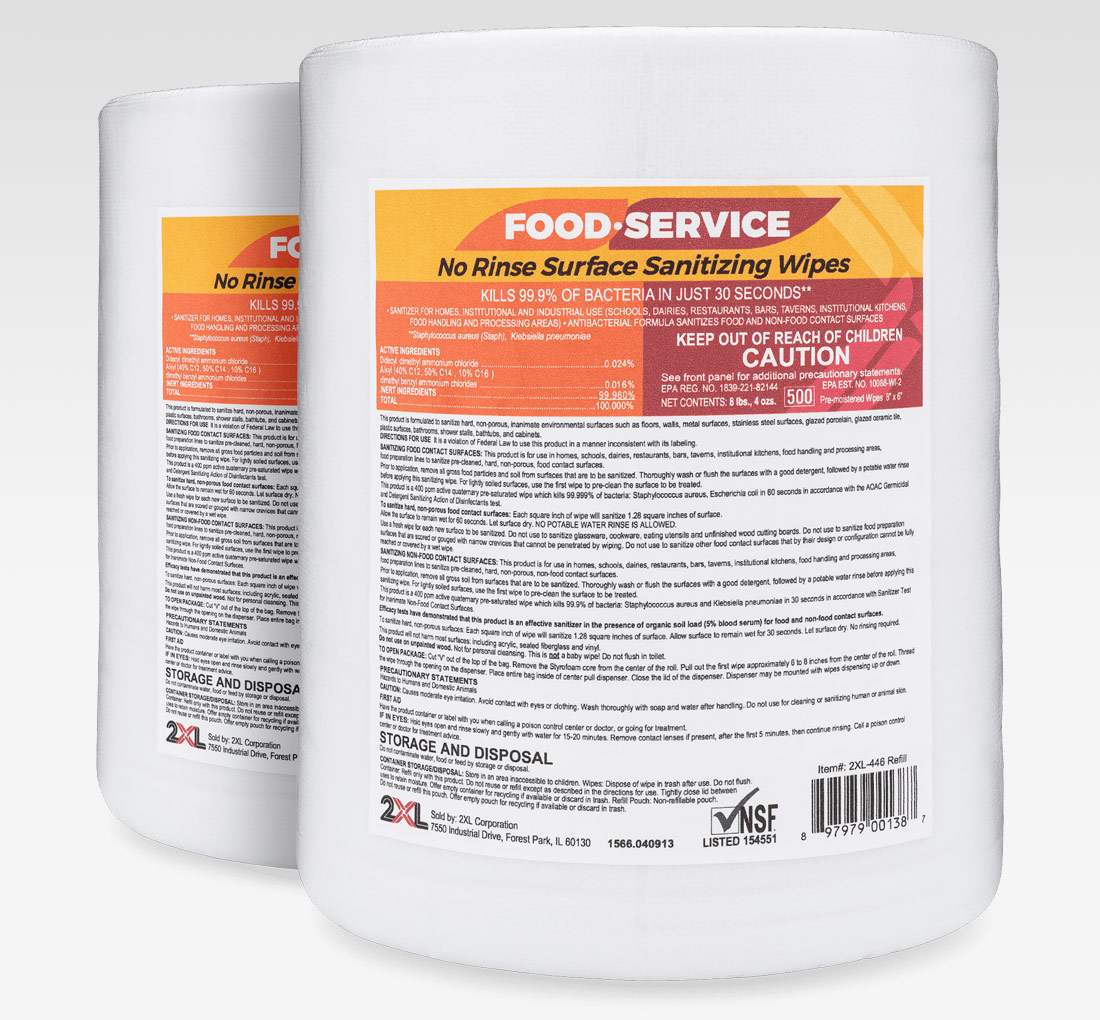2xl Food Service No Rinse Sanitizing Wipes 2pk