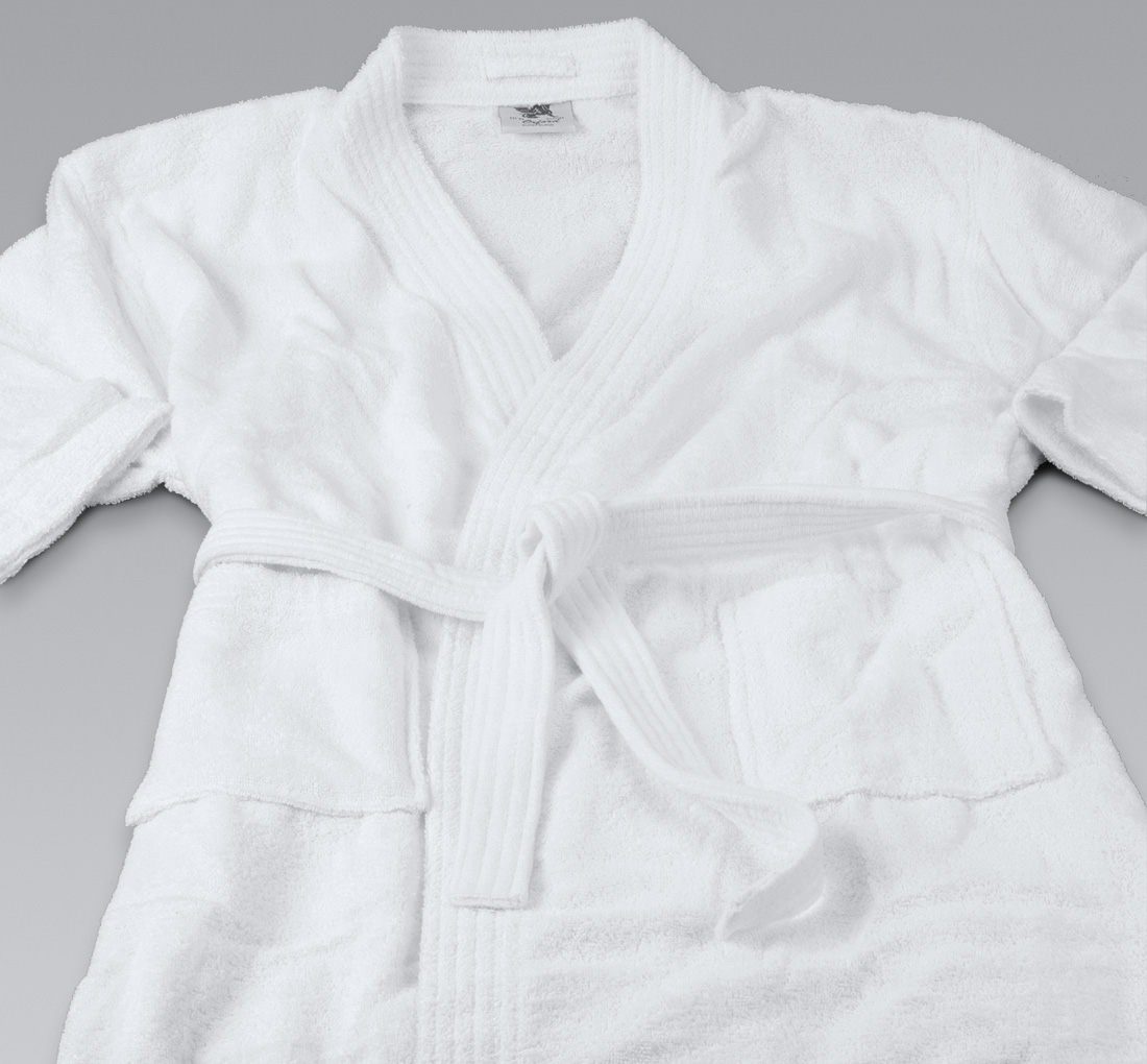 R108 48×60 White Basic Cotton Terry Bathrobe B