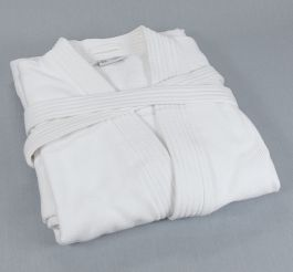 R110 48x60 White Double Laced Imperial Bathrobe